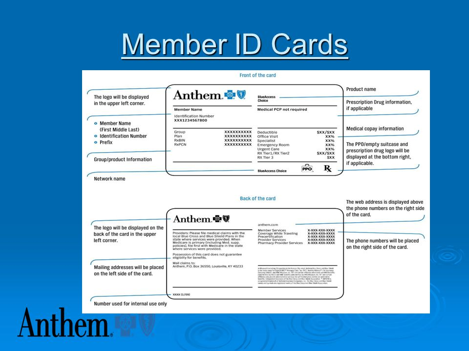 Member ID Cards  Steps to determine reimbursement schedule: 1. First look for Blue Access, Blue Access Choice, Blue Preferred or Pathway network on t