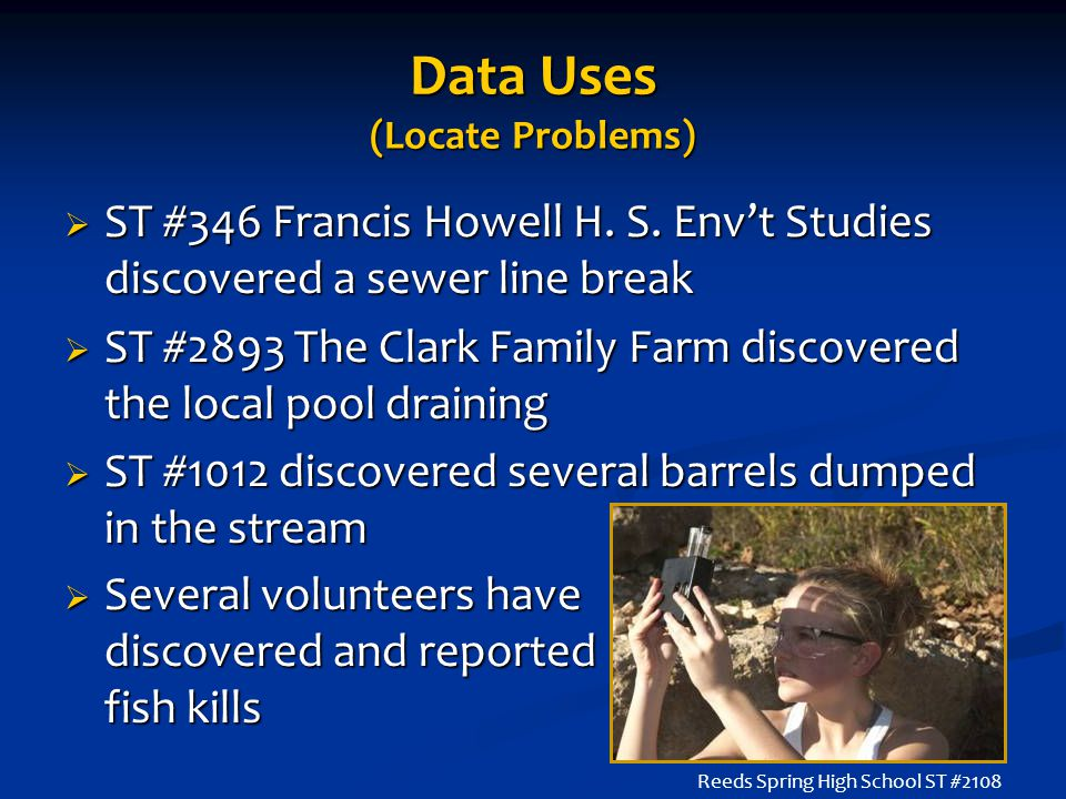 Data Uses (Locate Problems)  ST #346 Francis Howell H. S. Env't Studies discovered a sewer line break  ST #2893 The Clark Family Farm discovered the