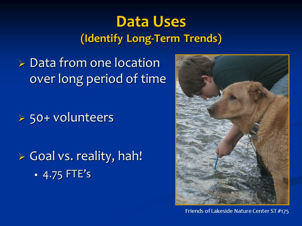 Data Uses (Identify Long-Term Trends)  Data from one location over long period of time  50+ volunteers  Goal vs.