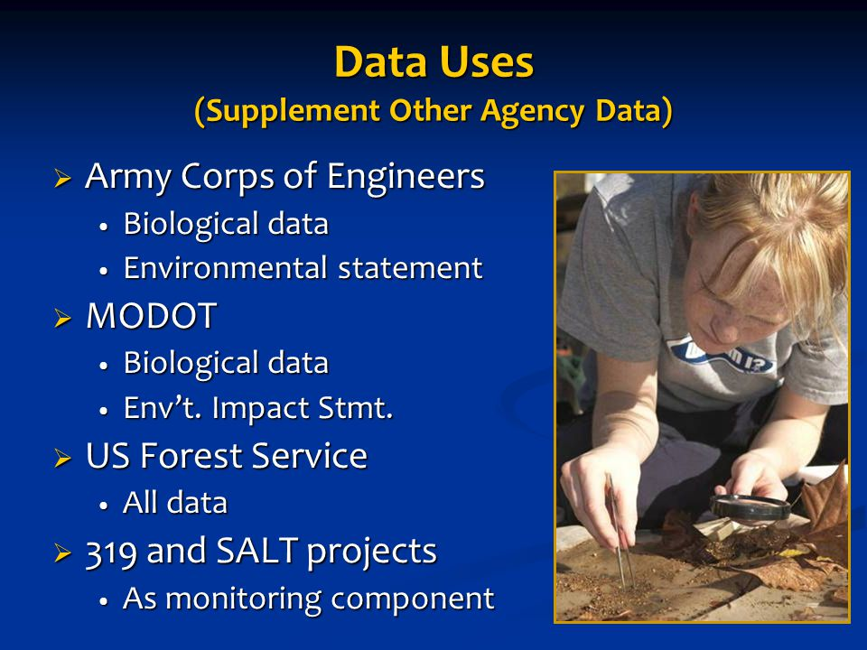 Data Uses (Supplement Other Agency Data)  Army Corps of Engineers Biological data Biological data Environmental statement Environmental statement  MODOT Biological data Biological data Env't.