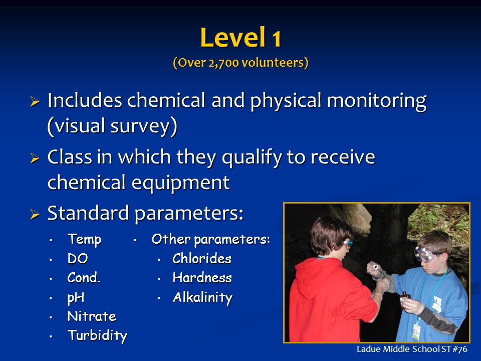 Level 1 (Over 2,700 volunteers)  Includes chemical and physical monitoring (visual survey)  Class in which they qualify to receive chemical equipmen