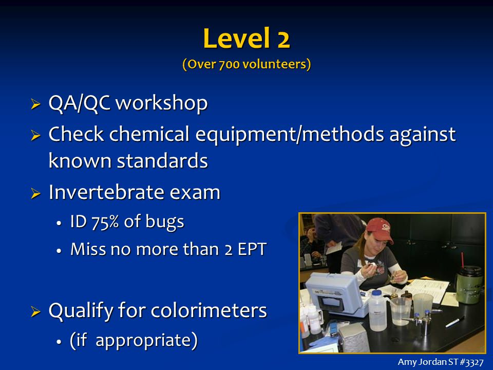 Level 2 (Over 700 volunteers)  QA/QC workshop  Check chemical equipment/methods against known standards  Invertebrate exam ID 75% of bugs ID 75% of bugs Miss no more than 2 EPT Miss no more than 2 EPT  Qualify for colorimeters (if appropriate) (if appropriate) Amy Jordan ST #3327