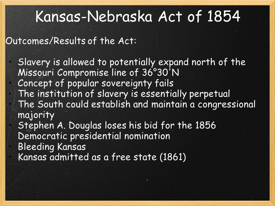 Kansas-Nebraska Act of 1854 Outcomes/Results of the Act: Slavery is allowed to potentially expand north of the Missouri Compromise line of 36°30 N Concept of popular sovereignty fails The institution of slavery is essentially perpetual The South could establish and maintain a congressional majority Stephen A.