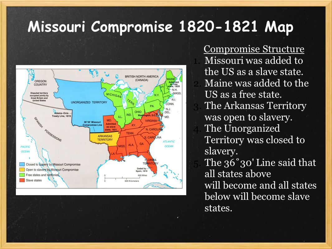 Missouri Compromise 1820-1821 Map Compromise Structure 1.Missouri was added to the US as a slave state.