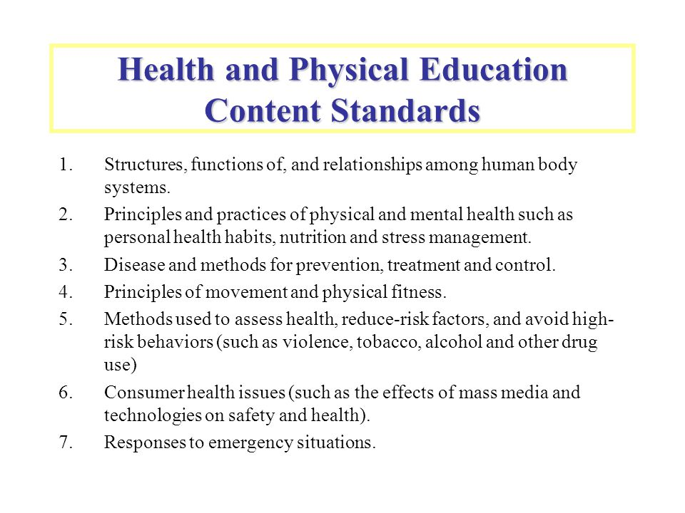 Health and Physical Education Content Standards 1.Structures, functions of, and relationships among human body systems. 2.Principles and practices of