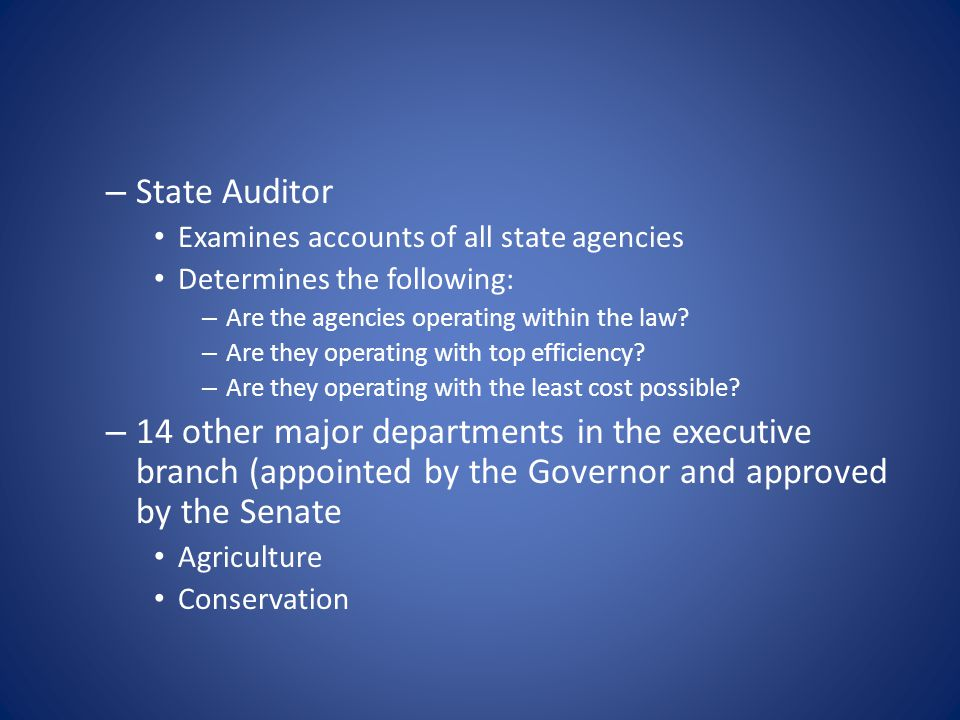 – State Auditor Examines accounts of all state agencies Determines the following: – Are the agencies operating within the law? – Are they operating wi