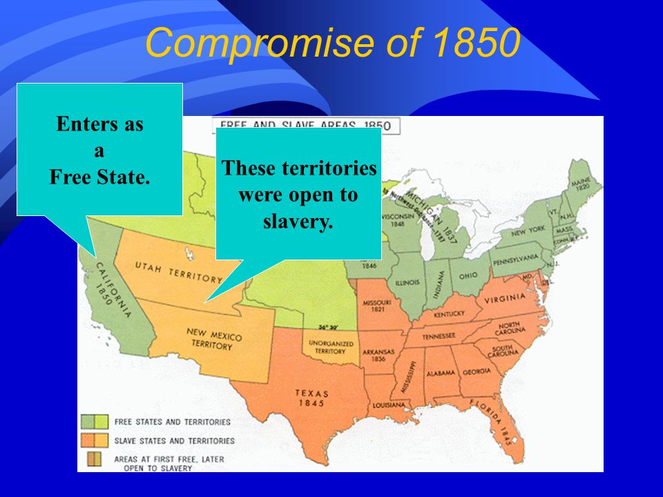 These territories were open to slavery. Enters as a Free State. Compromise of 1850