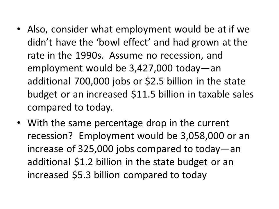 Also, consider what employment would be at if we didn't have the 'bowl effect' and had grown at the rate in the 1990s.