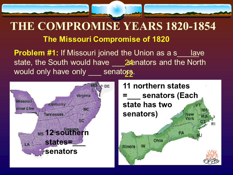 THE COMPROMISE YEARS 1820-1854 The Missouri C______________ of 1820 - In 1819, Missouri wanted to enter the Union.