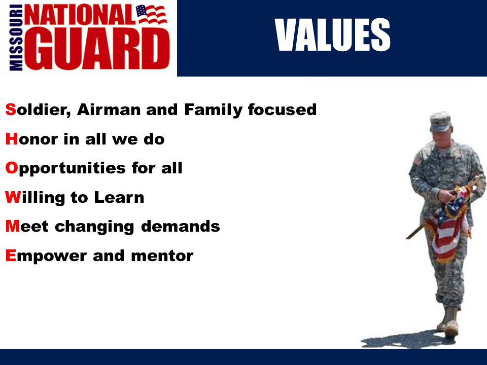 Our Mission The National Guard is the only armed service that has two missions.