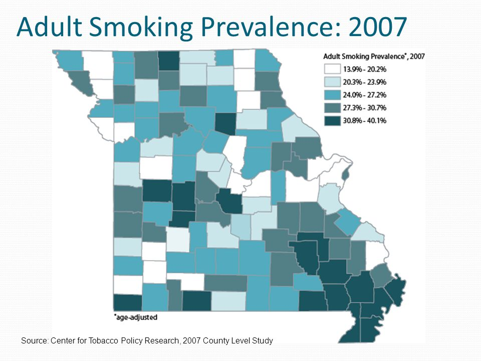 Secondhand Smoke Exposure: Workplace, 2007 Source: Center for Tobacco Policy Research, 2007 County Level Study