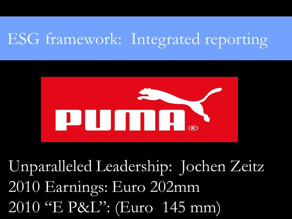 "ESG framework: Integrated reporting Unparalleled Leadership: Jochen Zeitz 2010 Earnings: Euro 202mm 2010 ""E P&L"": (Euro 145 mm)"