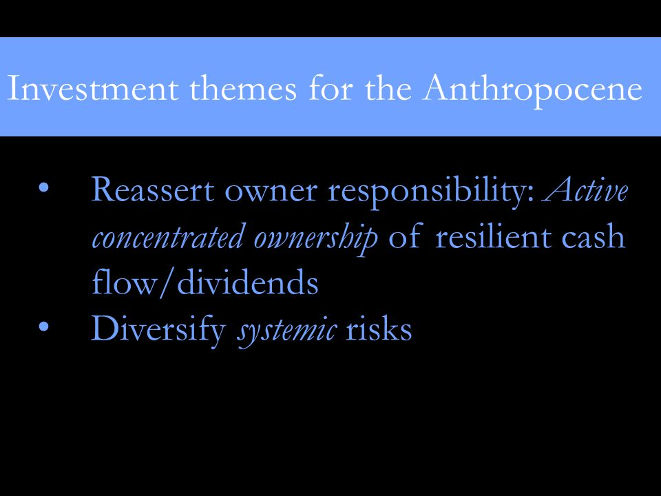 Investment themes for the Anthropocene Reassert owner responsibility: Active concentrated ownership of resilient cash flow/dividends Diversify systemic risks