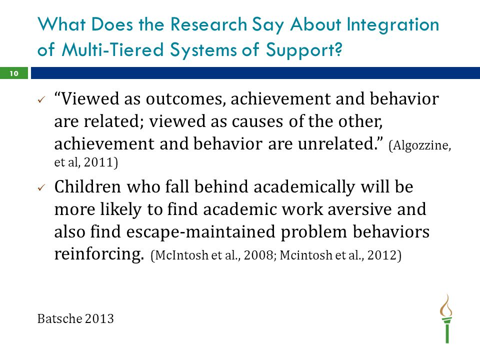 What Does the Research Say About Integration of Multi-Tiered Systems of Support.