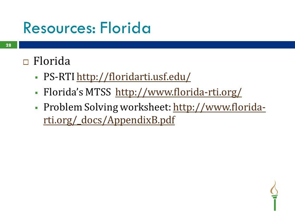 Resources: Florida  Florida  PS-RTI http://floridarti.usf.edu/http://floridarti.usf.edu/  Florida's MTSS http://www.florida-rti.org/http://www.florida-rti.org/  Problem Solving worksheet: http://www.florida- rti.org/_docs/AppendixB.pdfhttp://www.florida- rti.org/_docs/AppendixB.pdf 28
