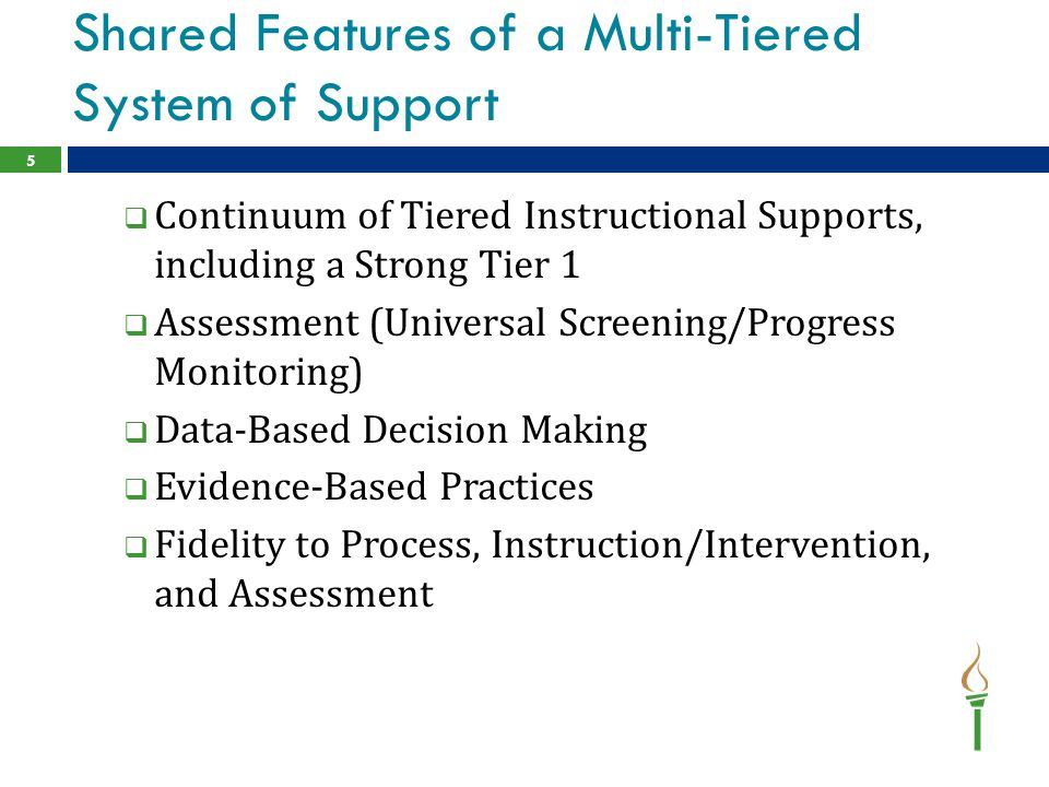 Shared Features of a Multi-Tiered System of Support  Continuum of Tiered Instructional Supports, including a Strong Tier 1  Assessment (Universal Sc
