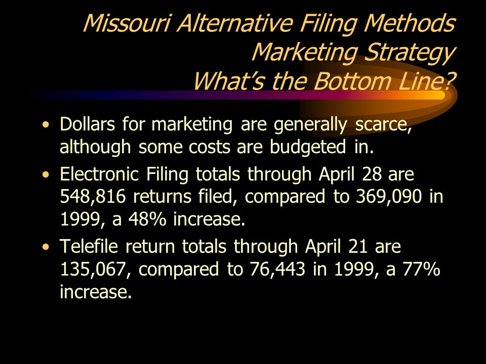 Missouri Alternative Filing Methods Marketing Strategy What's the Bottom Line.