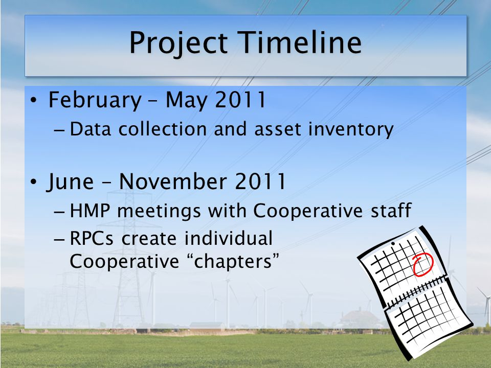 Project Timeline February – May 2011 – Data collection and asset inventory June – November 2011 – HMP meetings with Cooperative staff – RPCs create individual Cooperative chapters