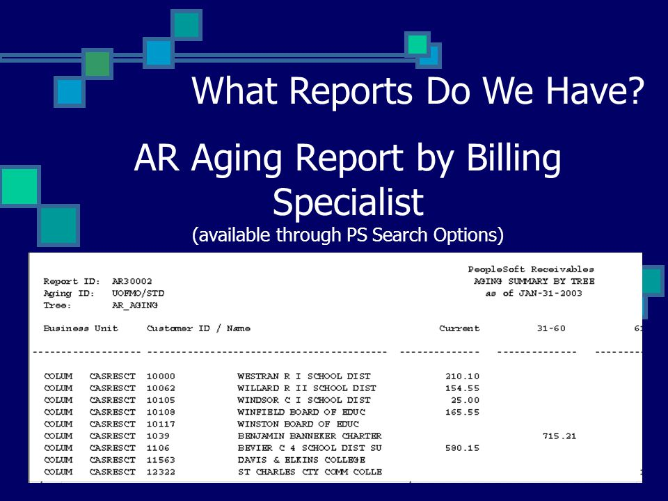 AR Aging Report by Billing Specialist (available through PS Search Options) What Reports Do We Have