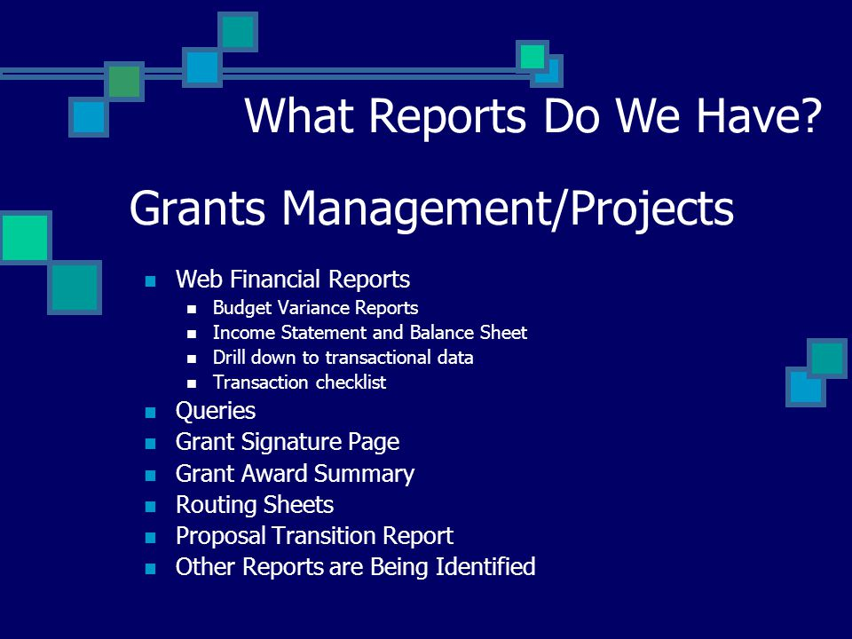 Grants Management/Projects Web Financial Reports Budget Variance Reports Income Statement and Balance Sheet Drill down to transactional data Transaction checklist Queries Grant Signature Page Grant Award Summary Routing Sheets Proposal Transition Report Other Reports are Being Identified What Reports Do We Have