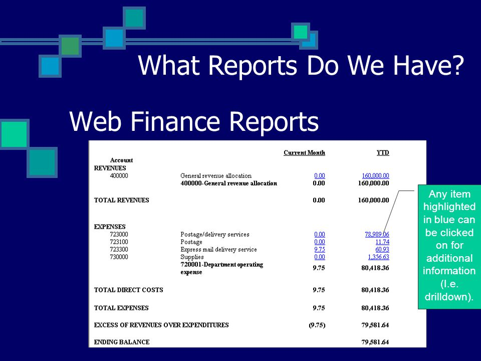 Web Finance Reports What Reports Do We Have.