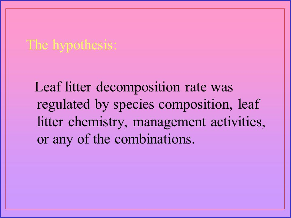 The hypothesis: Leaf litter decomposition rate was regulated by species composition, leaf litter chemistry, management activities, or any of the combinations.