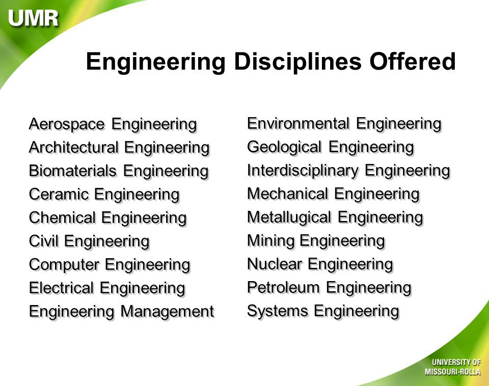 Specialization Tracks l Artificial/Computational Intelligence/Robotics l Astronautics (USC only) l Civil Engineering (UMR only) l Computational Fluid & Solid Mechanics (USC Only) l Computer Security l Construction (USC only) l Communication Systems l Control Systems l Dynamics and Control (USC only) l Economic Decision Analysis (UMR only) l Engineering Management