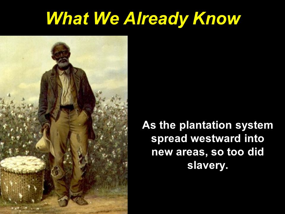 What We Already Know As the plantation system spread westward into new areas, so too did slavery.