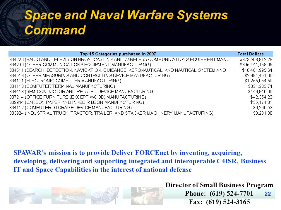 22 Space and Naval Warfare Systems Command SPAWAR's mission is to provide Deliver FORCEnet by inventing, acquiring, developing, delivering and support