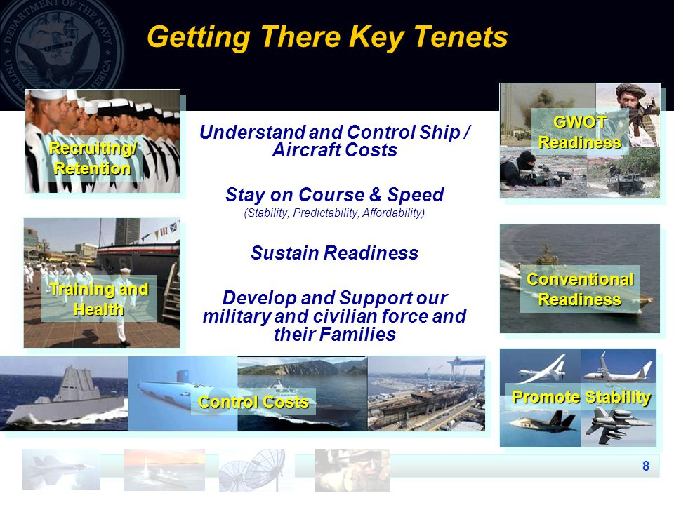 8 Getting There Key Tenets Understand and Control Ship / Aircraft Costs Stay on Course & Speed (Stability, Predictability, Affordability) Sustain Readiness Develop and Support our military and civilian force and their Families Recruiting/Retention Control Costs Training and Health ConventionalReadiness Promote Stability GWOTReadiness