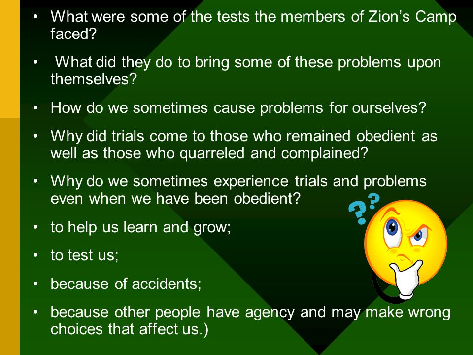 What were some of the tests the members of Zion's Camp faced.