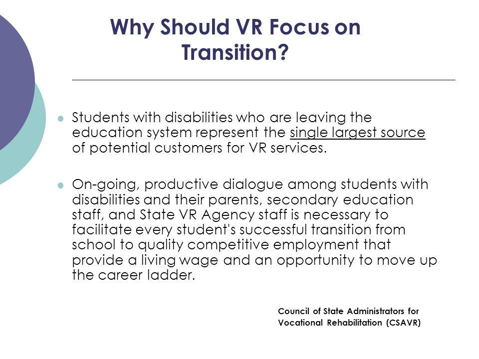 Big Picture VR  Eliminate duplication of transition services provided by the school (i.e.