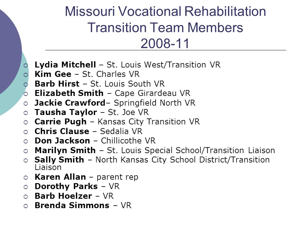 Missouri Vocational Rehabilitation Transition Team Members 2008-11  Lydia Mitchell – St. Louis West/Transition VR  Kim Gee – St. Charles VR  Barb H