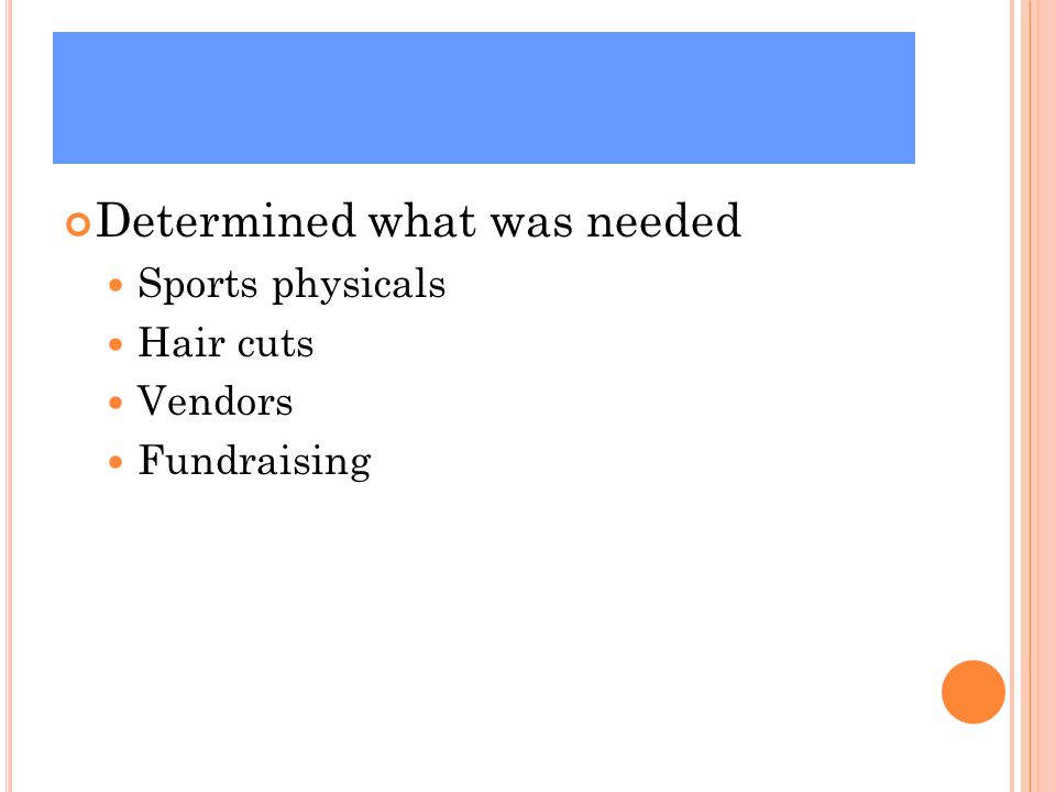 Determined what was needed Sports physicals Hair cuts Vendors Fundraising