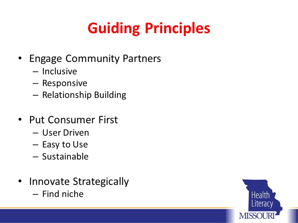 Guiding Principles Engage Community Partners – Inclusive – Responsive – Relationship Building Put Consumer First – User Driven – Easy to Use – Sustainable Innovate Strategically – Find niche