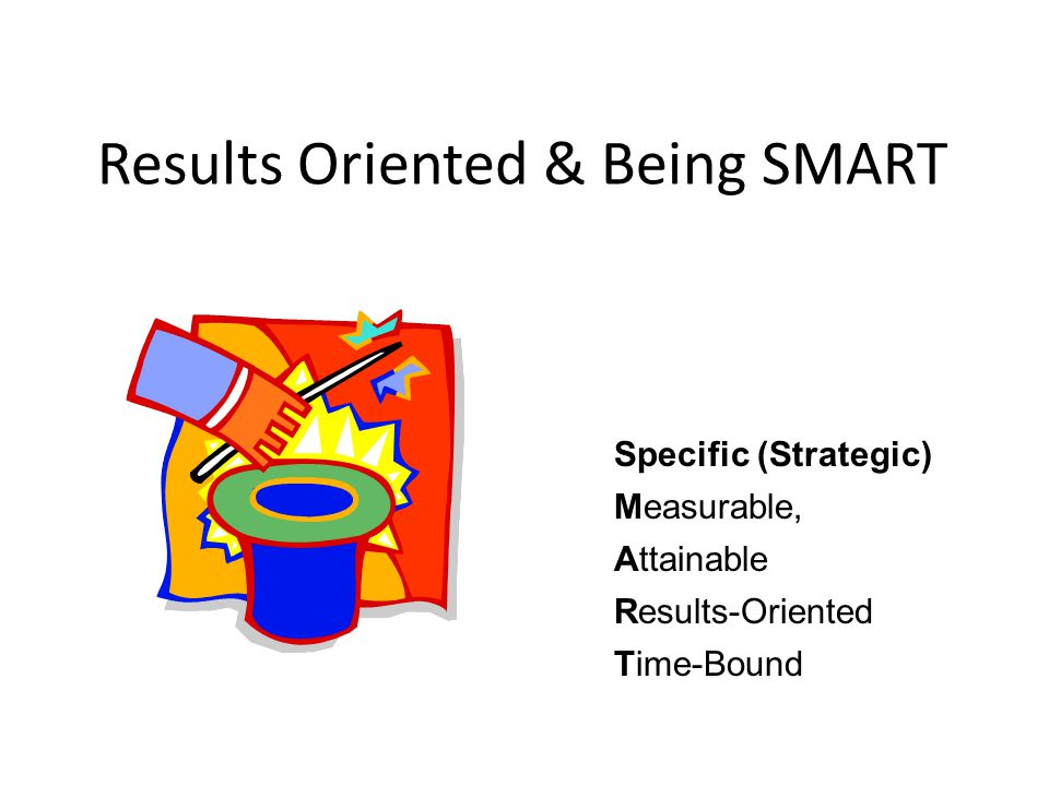 Results Oriented & Being SMART Specific (Strategic) Measurable, Attainable Results-Oriented Time-Bound