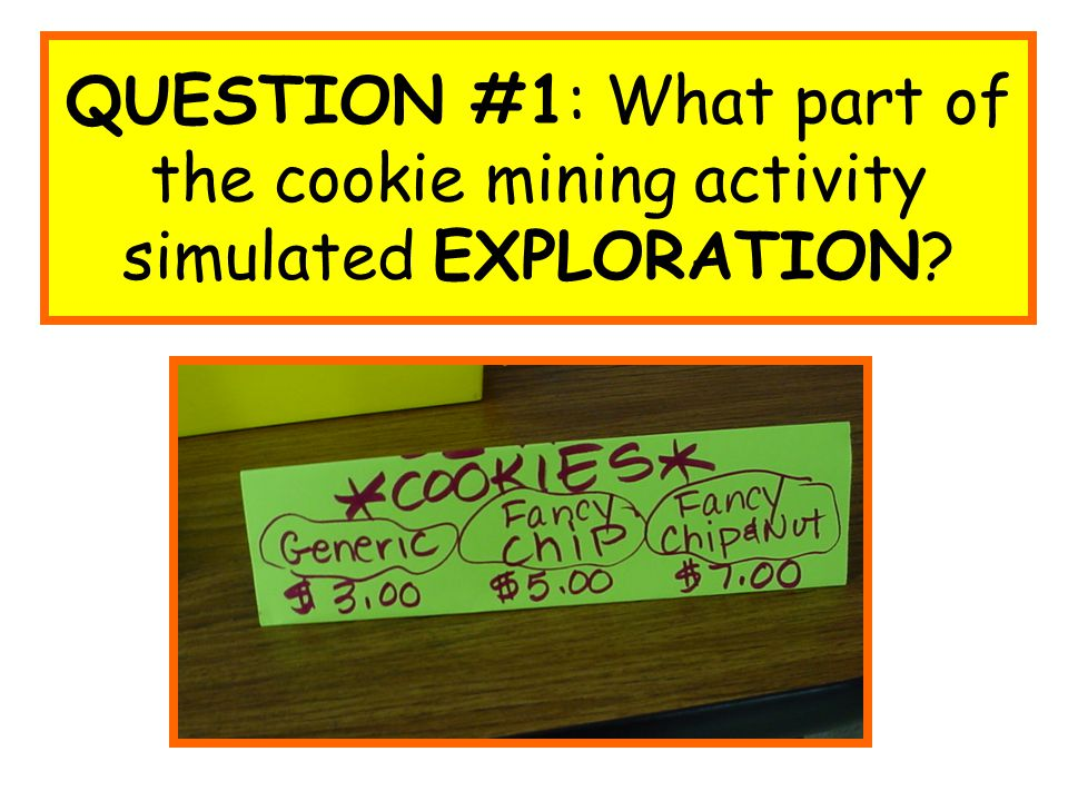 QUESTION #1: What part of the cookie mining activity simulated EXPLORATION?
