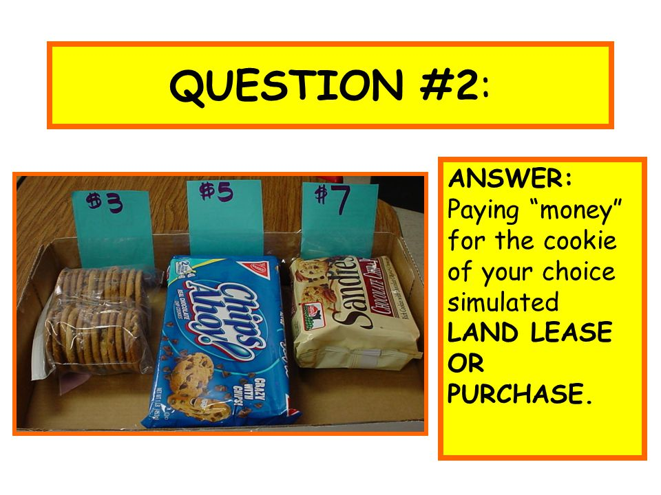 "QUESTION #2: ANSWER: Paying ""money"" for the cookie of your choice simulated LAND LEASE OR PURCHASE."