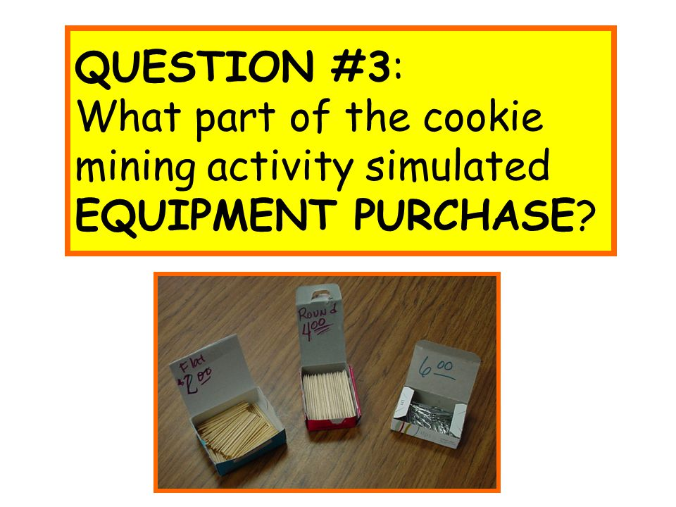 QUESTION #3: What part of the cookie mining activity simulated EQUIPMENT PURCHASE?