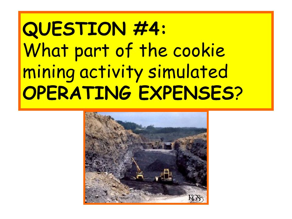 QUESTION #4: What part of the cookie mining activity simulated OPERATING EXPENSES?