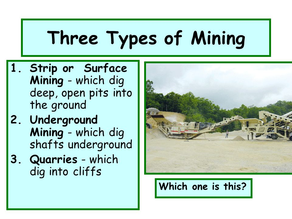 Three Types of Mining 1.Strip or Surface Mining - which dig deep, open pits into the ground 2.Underground Mining - which dig shafts underground 3.Quar