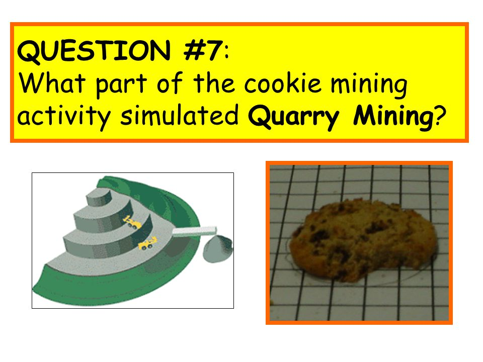QUESTION #7: What part of the cookie mining activity simulated Quarry Mining?