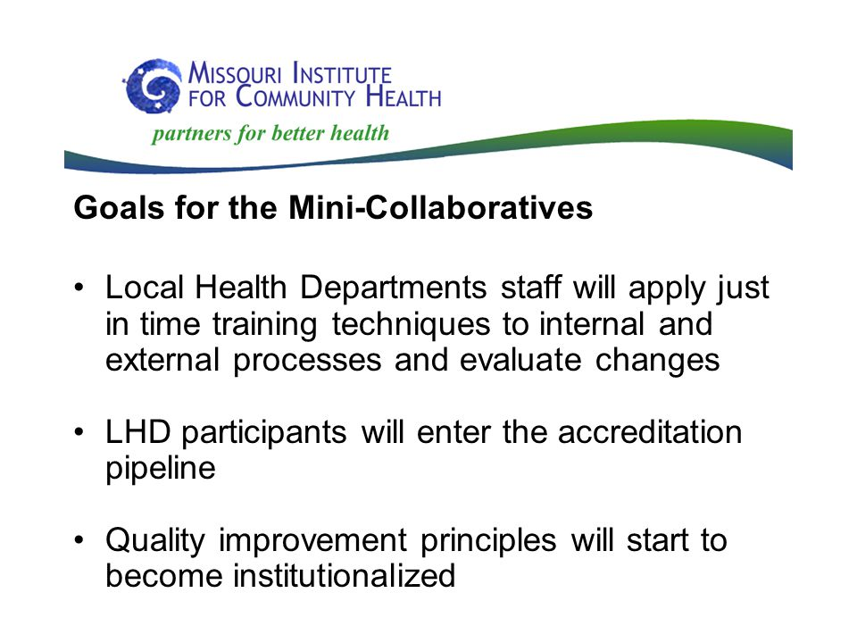 Goals for the Mini-Collaboratives Local Health Departments staff will apply just in time training techniques to internal and external processes and evaluate changes LHD participants will enter the accreditation pipeline Quality improvement principles will start to become institutionalized