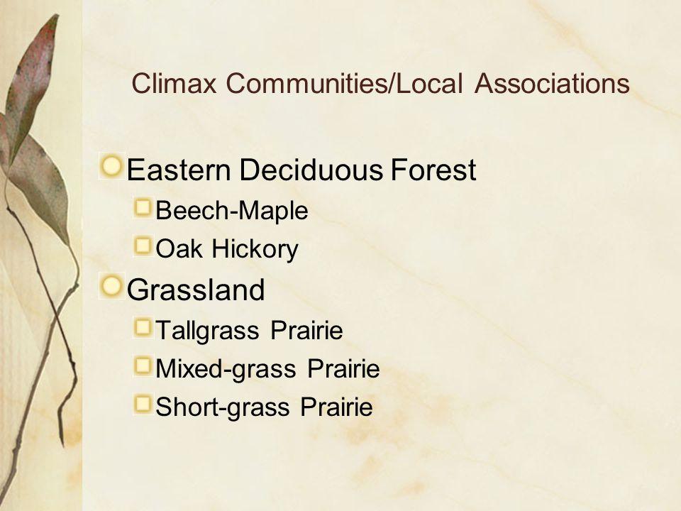 Climax Communities/Local Associations Eastern Deciduous Forest Beech-Maple Oak Hickory Grassland Tallgrass Prairie Mixed-grass Prairie Short-grass Prairie