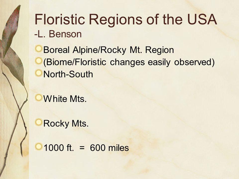Floristic Regions of the USA -L. Benson Boreal Alpine/Rocky Mt.