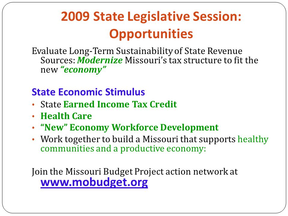 2009 State Legislative Session: Opportunities Evaluate Long-Term Sustainability of State Revenue Sources: Modernize Missouri's tax structure to fit the new economy State Economic Stimulus State Earned Income Tax Credit Health Care New Economy Workforce Development Work together to build a Missouri that supports healthy communities and a productive economy: Join the Missouri Budget Project action network at