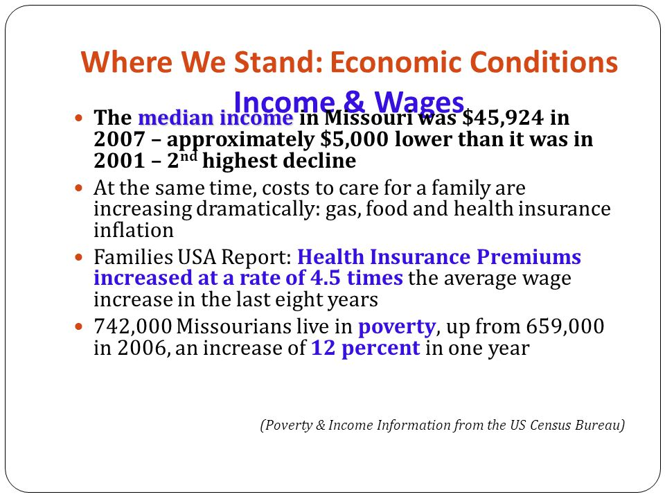Where We Stand: Economic Conditions Income & Wages median income The median income in Missouri was $45,924 in 2007 – approximately $5,000 lower than it was in 2001 – 2 nd highest decline At the same time, costs to care for a family are increasing dramatically: gas, food and health insurance inflation Families USA Report: Health Insurance Premiums increased at a rate of 4.5 times the average wage increase in the last eight years 742,000 Missourians live in poverty, up from 659,000 in 2006, an increase of 12 percent in one year (Poverty & Income Information from the US Census Bureau)