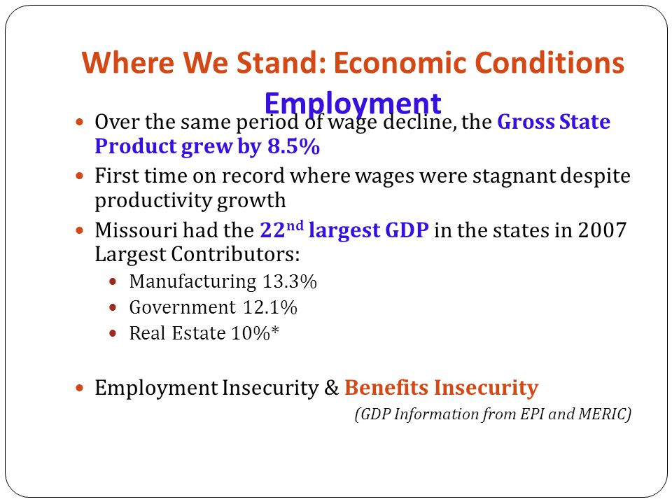 Where We Stand: Economic Conditions Employment Over the same period of wage decline, the Gross State Product grew by 8.5% First time on record where wages were stagnant despite productivity growth Missouri had the 22 nd largest GDP in the states in 2007 Largest Contributors: Manufacturing 13.3% Government 12.1% Real Estate 10%* Employment Insecurity & Benefits Insecurity (GDP Information from EPI and MERIC)