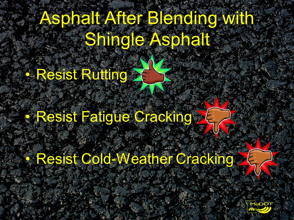 Asphalt Grades High Temperature for Rut Resistance Low Temperature for Fatigue and Cold Weather Performance Performance Graded = PG PG 64-22 (PG Sixty-four Minus Twenty-two) High Temp 64°C (147°F) Low Temp –22°C (-8°F)