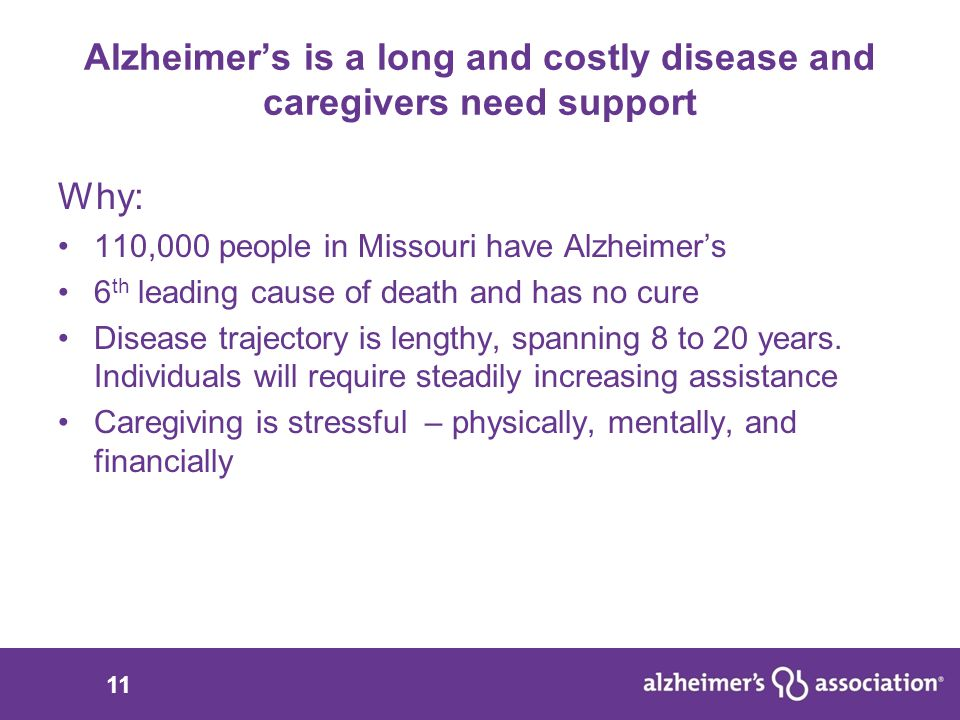 11 Alzheimer's is a long and costly disease and caregivers need support Why: 110,000 people in Missouri have Alzheimer's 6 th leading cause of death and has no cure Disease trajectory is lengthy, spanning 8 to 20 years.